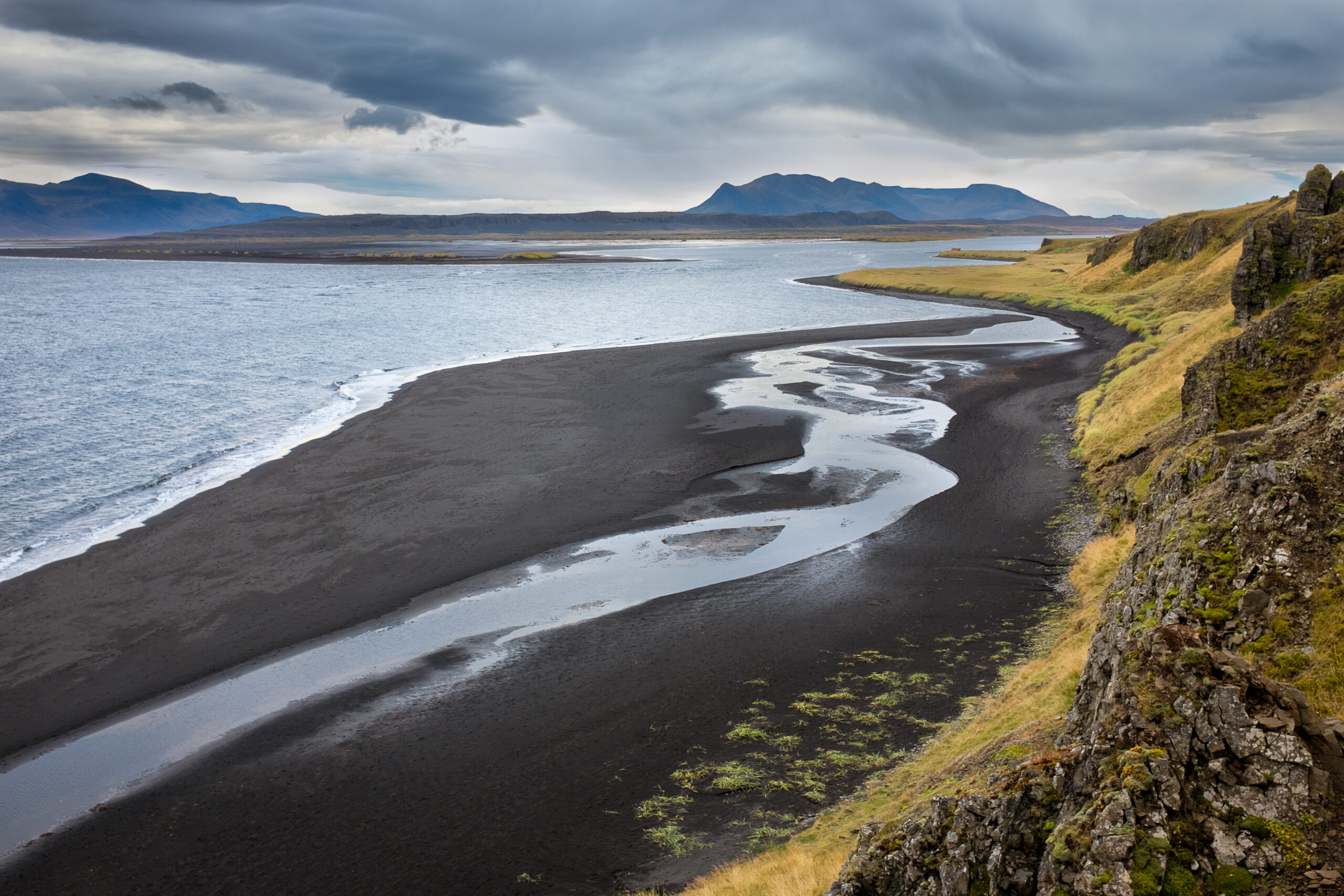 view over Vatnsnes black sand beach in north Iceland, Iceland Map